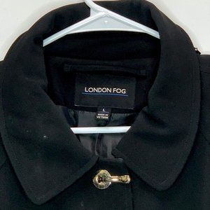 London Fog Womans Designer Raincoat Black Large